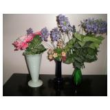 3 Vases, Tallest 10 inches, w/flowers
