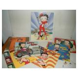 Metal Betty Boop Tin Sign, 12x16, and Calendars