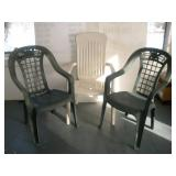 3 Plastic  Outdoor Chairs