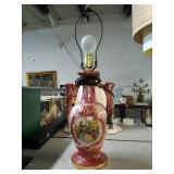 Beautiful Victorian Ceramic lamp. Works. Needs