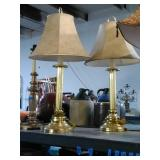 Pair of gold tone metal lamps. Tested and work.