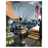 Brass finish metal lamp. No shade. Tested and