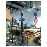 Unique Black ROD Iron lamp. Works. Stands
