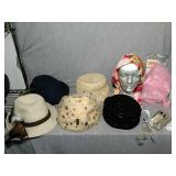 Lot of Vintage Ladies Hats and rain caps. Comes