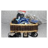 Basket lot of electrical wire and more.