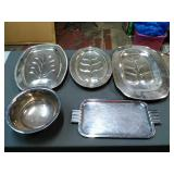 5 Assorted Silver Plated serving dishes. Trays