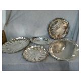 5 Assorted Silver Plated serving trays.