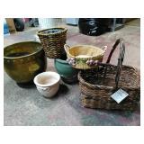 Basket & Planter lot. Large Brass planter, green
