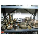 Shelf lot of assorted items. Some Brass, silver