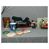 Christmas decorations. Assortment of ceramic salt