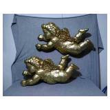 "Pair of Hanging Curbs. Each is 25"". Gold painted"
