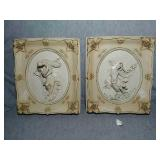 2 Decorative Ceramic Wall plaques. Hand painted.