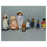 Vintage Dolls. Hand painted wooden with stands.