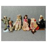 6 Assorted Vintage Dolls. Some Bisque, and