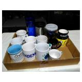 Box lot of assorted coffee mug and more.