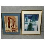 2 Decorative Framed Artwork. Both matted.