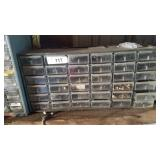 36 drawer parts bin and contents left garage