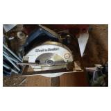Black & Decker circular saw located left garage