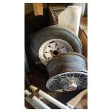 Larger size trailer tire and wire Chevrolet wheel