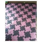 "100""×87""machine quilted pink and black quilt"