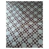 "99""×84"" machine quilted quilt brown and white"