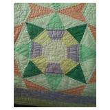 "70""×79"" worn hand pieced,hand quilted quilt"