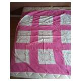 "69""×60"" hand pieced hand quilted quilt.some signs"