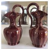 Pair of Ewer Vase Red Marble