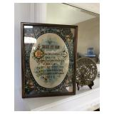 Brass Plate and Religious Print Framed