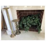 Brass Candle Holders & Faux Plant