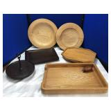 Collection of Wooden Trays, Platter & more