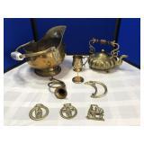 Antique Brass Coal Scuttle & Brass Collection