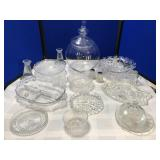 Large collection of Clear Depression Glass & more