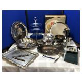 Collection of Silver Plated Serving Pieces & more