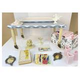 Stool/Table, Pink Vases, Frames, Postcards & more