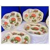 Vintage Mushroom Set of 5 Party Trays