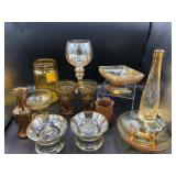 Large collection of amber & carnival glass