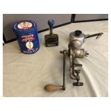 Antique Meat Grinder, Antique Date Stamp and more