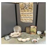 Vintage Calendar Tea Towel, Pea Pod Serving Dish