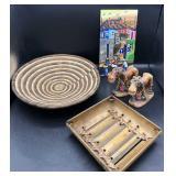 Hand Woven Basket, Donkeys & Artwork