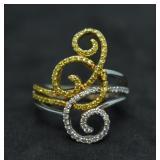 14k Gold Yellow & White Diamond Ring
