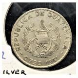1961 GUATEMALA 25 CENTAVOS  SILVER