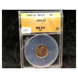 1952   LINCOLN CENT - MS 63 - RED BROWN