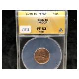 1956  LINCOLN CENT - PROOF 63 - RED