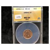 1958-D  LINCOLN CENT - MS64 - RED