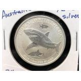 2014 - AUSTRAILIA - 1/2 OZ SILVER - GREAT WHITE SH