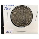 1936 A 5 Mark German WW2 Silver Coin (1) Third Rei