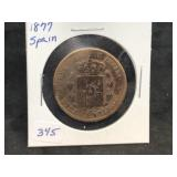 1877 SPAIN 10 CENTIMOS - LUSTER AND RAINBOW TONER