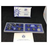 2001 US MINT PROOF SET - 10 COIN SET