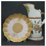 Antique Limoges Plate & Porcelain Pitcher